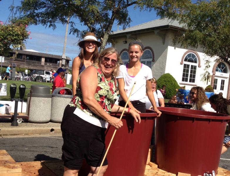 My grape stomping team. Pictured: Alison Mastrangelo, Frances Mastrangelo, Tricia Stump. Photo Credit: Alison Mastrangelo